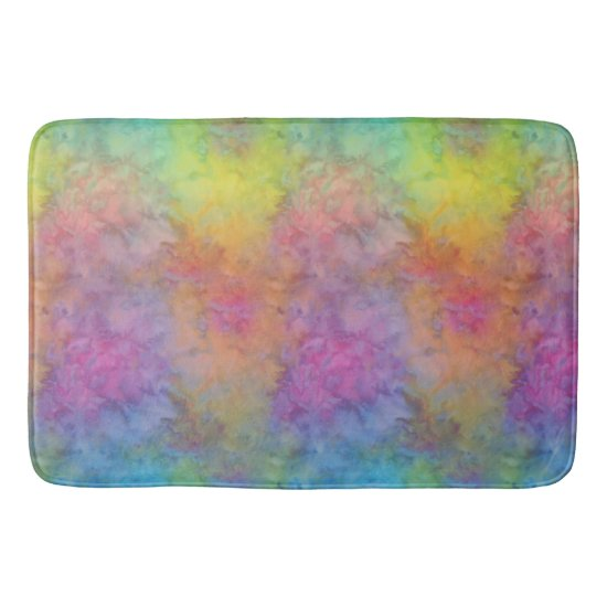 [Rainbow Frost] Multi-Colored Tie-Dye Bath Mat