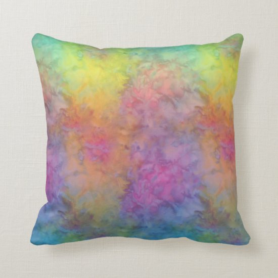 [Rainbow Frost] Multi-Colored Tie-Dye Throw Pillow