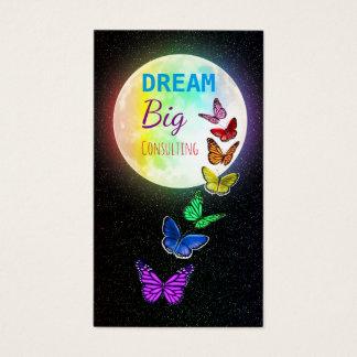 Rainbow Full Moon & Rainbow Butterflies Dream Big Business Card