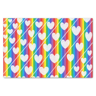 "Rainbow Full of Hearts Tissue Paper 10"" X 15"" Tissue Paper"