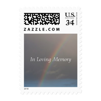 Rainbow Funeral Memorial Announcement Stamps