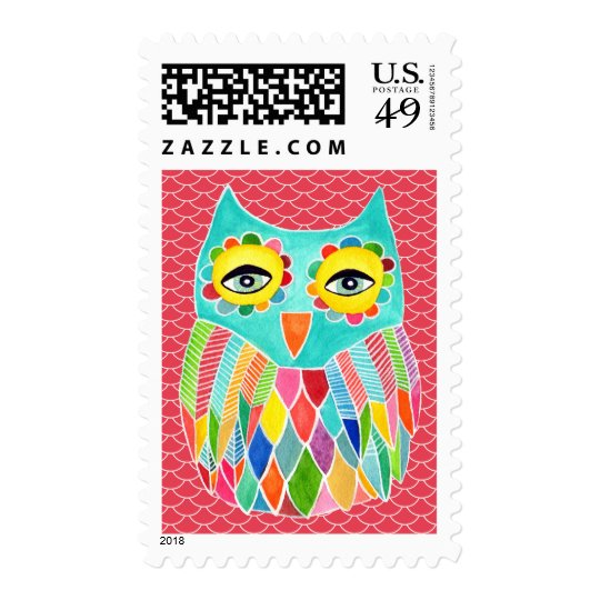 Rainbow Funky Owl Illustrated Postage Stamp