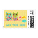 Rainbow Funky Owls in Tree Postage Stamp