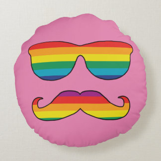 Rainbow Funny Face Round Pillow