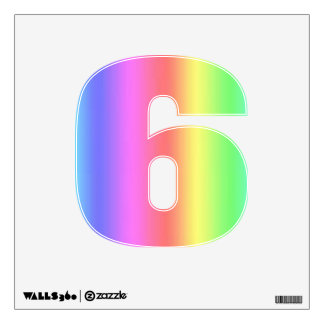 Rainbow Fusion Number Six-Small Wall Sticker