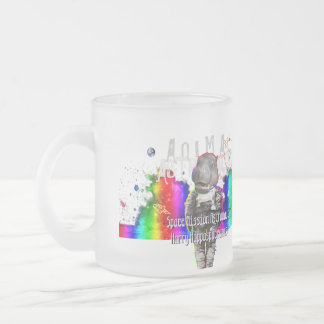 Rainbow Galaxy Space Hippo Animal Astronaut Frosted Glass Coffee Mug