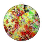 Rainbow Garden Abstract Floral Art Photo Game Dartboard With Darts