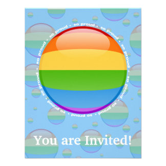 Rainbow Gay Lesbian Pride Bubble Flag Personalized Announcement