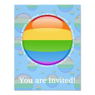 Rainbow Gay Lesbian Pride Bubble Flag 4.25x5.5 Paper Invitation Card