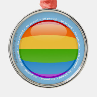 Rainbow Gay Lesbian Pride Bubble Flag Metal Ornament