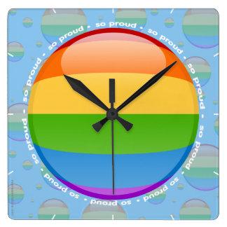 Rainbow Gay Lesbian Pride Bubble Flag Square Wall Clock