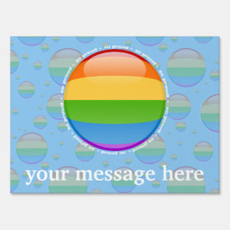 Rainbow Gay Lesbian Pride Bubble Flag Yard Sign