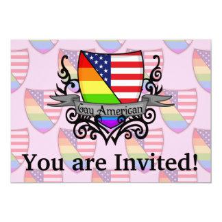 Rainbow Gay Lesbian Pride Shield Flag 5x7 Paper Invitation Card