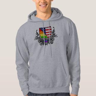Rainbow Gay Lesbian Pride Shield Flag Hooded Sweatshirts