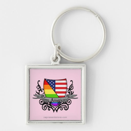 Rainbow Gay Lesbian Pride Shield Flag Keychains