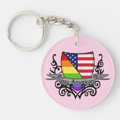 Rainbow Gay Lesbian Pride Shield Flag Acrylic Key Chain