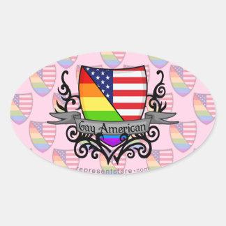 Rainbow Gay Lesbian Pride Shield Flag Oval Sticker