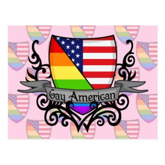 Rainbow Gay Lesbian Pride Shield Flag Postcard