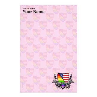 Rainbow Gay Lesbian Pride Shield Flag Stationery