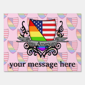 Rainbow Gay Lesbian Pride Shield Flag Yard Sign