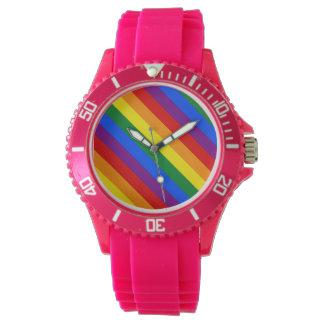 Rainbow Gay Lesbian Trans Queer LGBTQ Pride Flag Wristwatch
