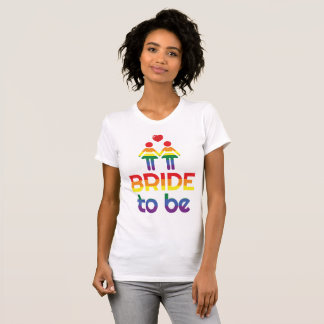Rainbow Gay Marriage T-Shirts For Women Bride