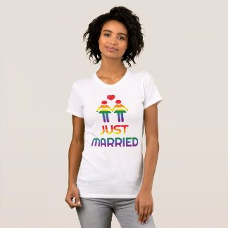 Rainbow Gay Marriage T-Shirts For Women Married