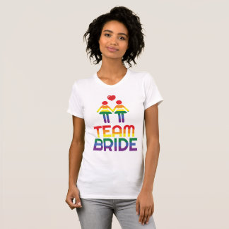 Rainbow Gay Marriage T-Shirts For Women Team Bride