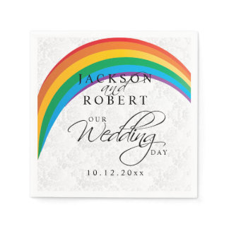 Rainbow Gay - Our Wedding Day Paper Napkins