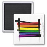 Rainbow Gay Pride Brush Flag 2 Inch Square Magnet