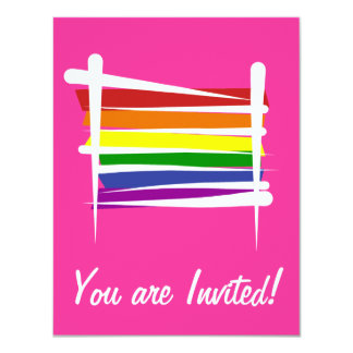 Rainbow Gay Pride Brush Flag Card
