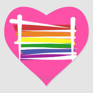 Rainbow Gay Pride Brush Flag Heart Sticker