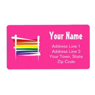 Rainbow Gay Pride Brush Flag Label