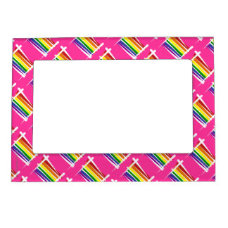 Rainbow Gay Pride Brush Flag Magnetic Picture Frame