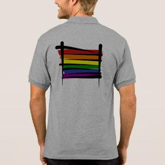 Rainbow Gay Pride Brush Flag Polo T-shirt