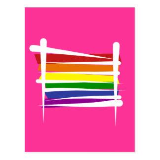 Rainbow Gay Pride Brush Flag Postcard