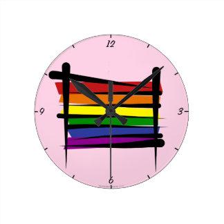 Rainbow Gay Pride Brush Flag Round Clock