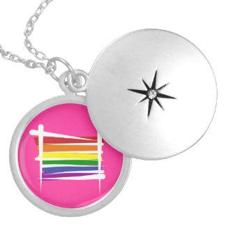 Rainbow Gay Pride Brush Flag Round Locket Necklace