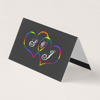 Rainbow Gay Pride Love Hearts Song Request Place Card