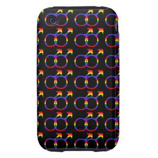 Rainbow Gay Pride Male Symbols Tough iPhone 3 Covers