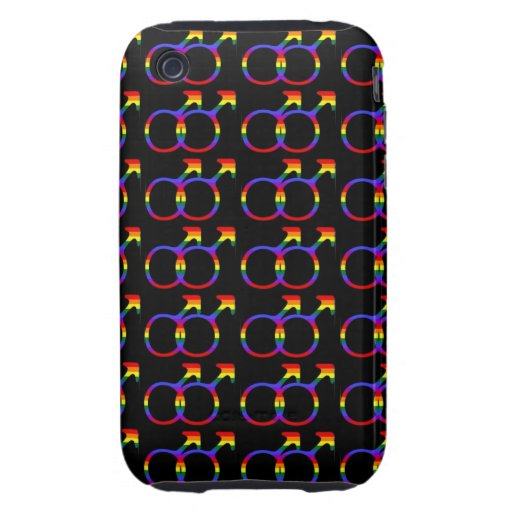 Rainbow Gay Pride Male Symbols Tough iPhone 3 Cases