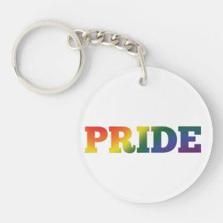 Rainbow Gay Pride On White Keychain