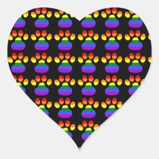 Rainbow Gay Pride Paws Heart Sticker