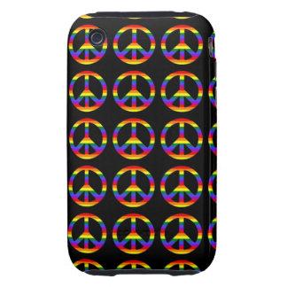 Rainbow Gay Pride Peace Symbol iPhone 3 Tough Case