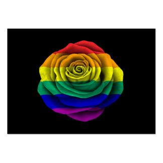 Rainbow Gay Pride Rose Flag on Black Business Card Templates