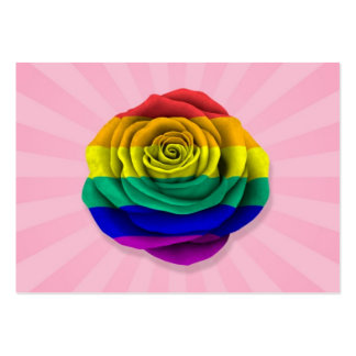 Rainbow Gay Pride Rose Flag on Pink Business Card