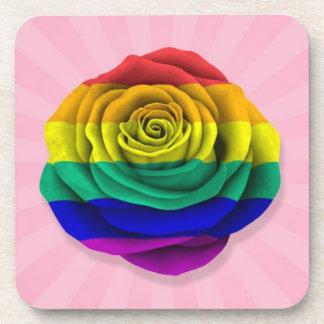 Rainbow Gay Pride Rose Flag on Pink Coaster