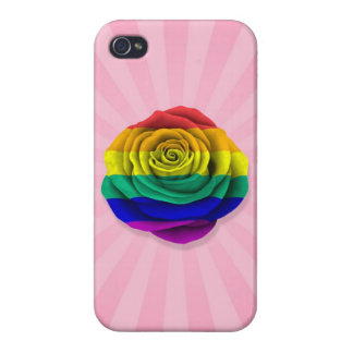 Rainbow Gay Pride Rose Flag on Pink iPhone 4/4S Cases