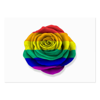 Rainbow Gay Pride Rose Flag on White Business Card Template