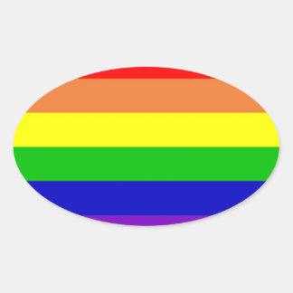 Rainbow Gay Rights Flag Oval Sticker